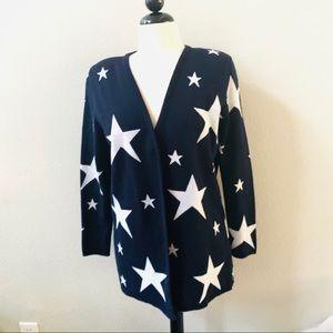 VINTAGE dark navy blue white star retro cardigan